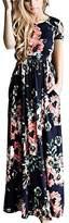 Initial inital Women's Flower Print Short Sleeve Empire Waist Maxi Dress Long Dress