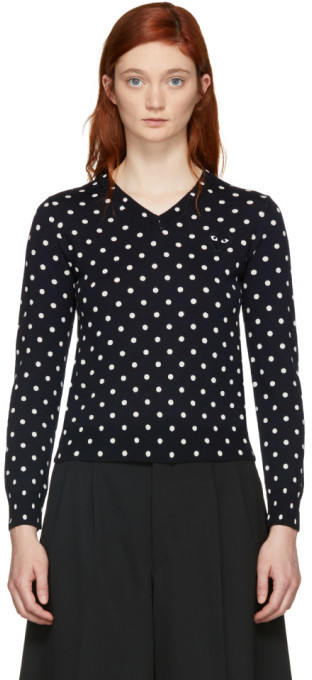 Comme des Garcons Navy Polka Dot V-Neck Sweater