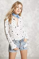 Forever 21 Semi-Sheer Graphic Shirt