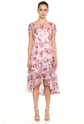 Marchesa Notte Embroidered Glitter Tulle Cocktail Dress