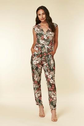 Wallis Khaki Leaf Print Jumpsuit
