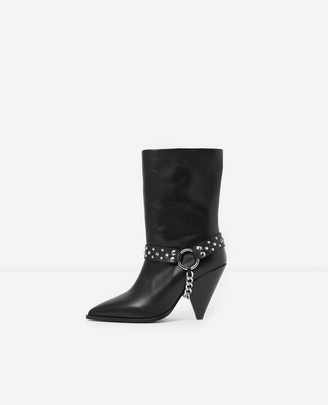 The Kooples Black heeled boots with removable chain