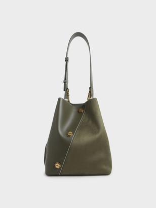 Charles & Keith Studded Textured Hobo Bag