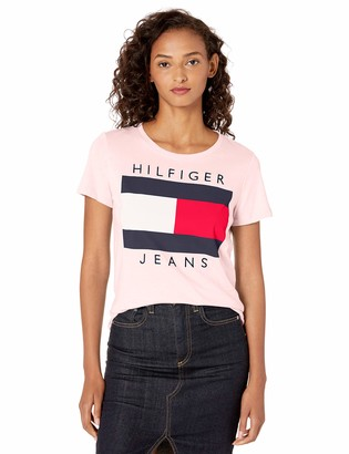 Tommy Hilfiger Women's Short Sleeve Crew Neck Flag Logo T-Shirt