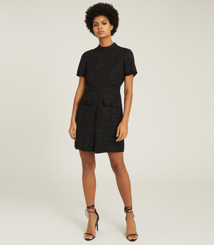 Reiss Jenny - Tweed Mini Dress in Black