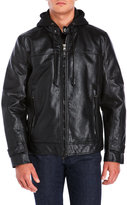 Andrew Marc Faux Leather Moto With Removable Bib