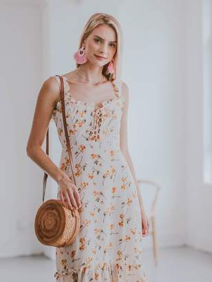 Goodnight Macaroon 'Remi' Floral Lace-up Peplum Midi Dress