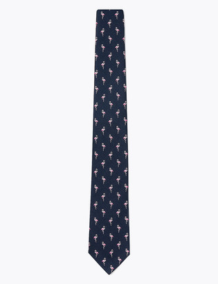 Marks and Spencer Slim Woven Flamingo Tie
