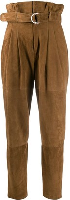 P.A.R.O.S.H. High-Waisted Suede Trousers