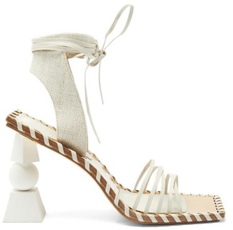 Jacquemus Valerie Geometric-heel Wraparound Leather Sandals - Cream