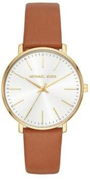 Michael Kors Pyper Goldtone and Leather Strap Watch