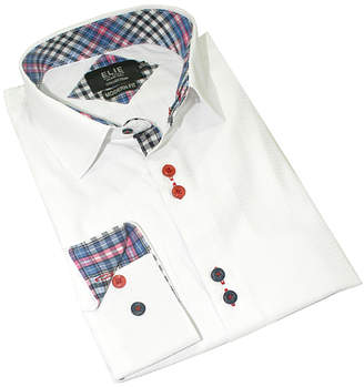 Elie Balleh Boys' Button Down Shirts WHITE - White Color-Contrast Button-Up - Toddler