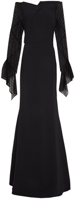 Roland Mouret Off-the-shoulder Lace-paneled Crepe Gown