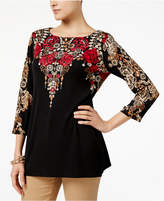 JM Collection Lace-Print Studded Tunic, Created for Macy's