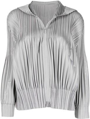 Pleats Please Issey Miyake Pleated Zip-Up Jacket