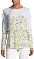 St. John Long-Sleeve Linear Tweed-Print Top