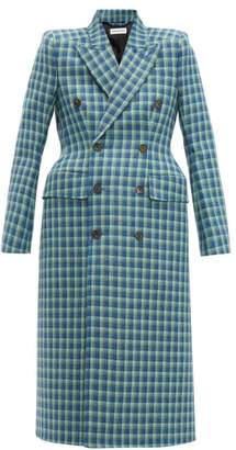 Balenciaga Hourglass Checked Double-breasted Wool Coat - Womens - Blue Multi