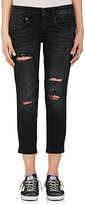 R 13 Women's Boy Skinny Zip Leg Distressed Jeans
