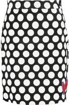 Love Moschino Flocked polka-dot stretch-cotton mini skirt
