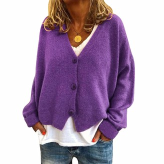 Yaootely Woman Autumn and Winter Popular Casual Loose Sweaters Cardigan Button V-Neck Long Sleeves Cardigans Purple S