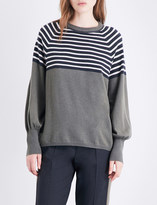 Brunello Cucinelli Bead-embellished striped cashmere jumper