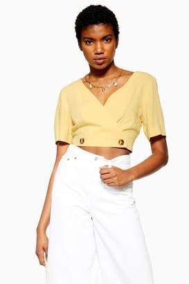 Topshop Womens Yellow Wrap Front Crop Top - Lemon