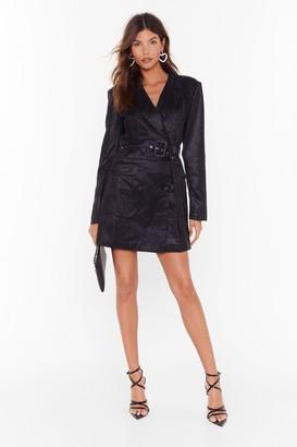 Nasty Gal Womens In Your Dreams Glitter Blazer Dress - black - 4