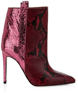 Paris Texas Metallic Snakeskin-Embossed Leather Booties