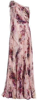 Marchesa Notte Floral Asymmetrical Pleated Gown