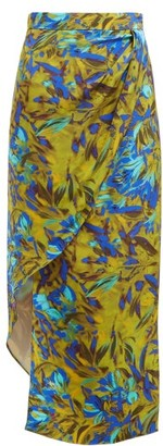 Raey Asymmetric Uv Floral-print Silk Skirt - Womens - Blue Print