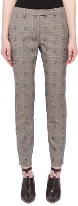 Altuzarra Henri Floral-Embroidered Prince of Wales Check Trousers