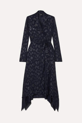 Cushnie Belted Fil Coupe Chiffon Jacket - Navy