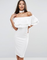 Club L Bardot Midi Dress with Double Frill and Choker Detail