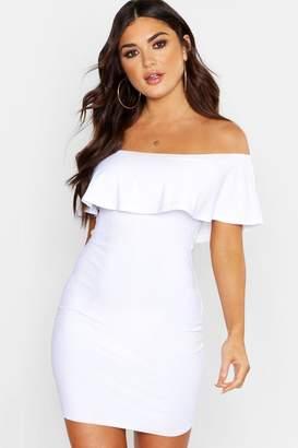 boohoo Bardot Deep Frill Sheered Mini Dress