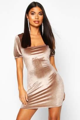 boohoo Petite Velvet Puff Sleeve Bodycon Dress