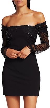 Cushnie Off-The-Shoulder Embellished Tulle Cocktail Dress