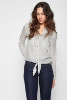 7 For All Mankind Tie Front Denim Shirt In White And Denim Mini Stripe