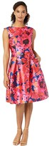 Tahari ASL Printed Mikado Sleeveless Party Dress (Navy/Fuchsia/Coral) Women's Dress