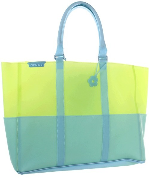 Crocs Jelly Translucent Beach Tote (Green) - Bags and Luggage