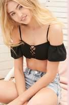 Garage Off-Shoulder Lace-Up Bikini Top