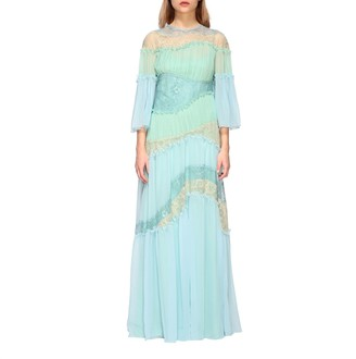 Alberta Ferretti Dress Long Dress In Pleated Waves And Lace