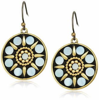 Lucky Brand Women's Hammered Gold and Mop Inlay Drop Earrings One Size