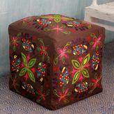 Novica Handcrafted Cotton Rayon 'Elephant Blooms' Ottoman Cover (India)