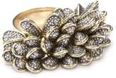 "Moritz Glik New Wave"" 18K Gold, Oxidized Silver and Diamond Textured Beaded Ring, Size 7"