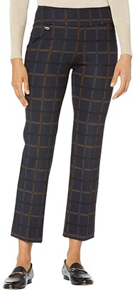 Lisette L Montreal Crowley Check Ankle Trouser Pants (Navy) Women's Casual Pants