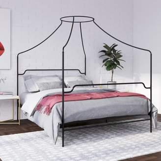 Novogratz Camilla Metal Canopy Bed, Queen Size Frame, Black