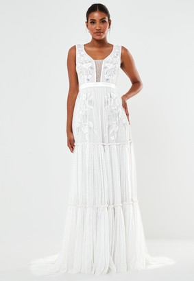 Missguided Cream Hand Beaded Tiered Wedding Dress