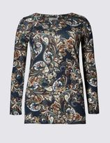 Marks and Spencer Paisley Print Long Sleeve Longline Top