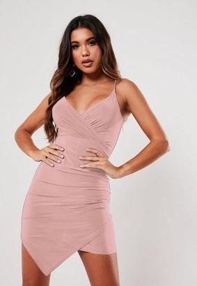 Missguided Blush Slinky Strappy Wrap Cami Mini Dress