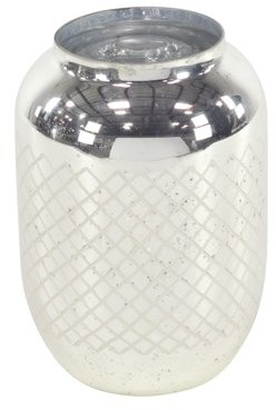 Decmode Modern 11 X 7 Inch Silver Glass Candle Holder